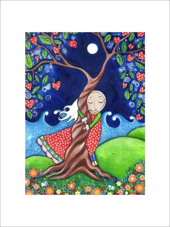 Arbre Hugger A3 Art Imprimé Folk Art Femmes Peinture Murale Arbre De Vie Pépinière Décor Fantaisiste Enfants Chambre Image D Art Spirituel Art