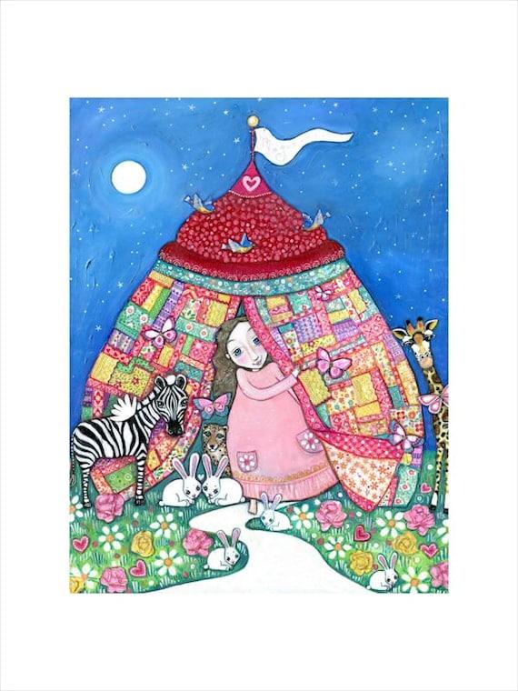 Girls Childrens Room A3 Art Print Circus Patchwork Quilt