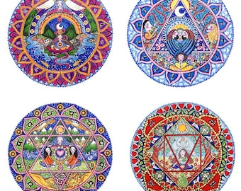 Set of 7 Chakra Mandala Art Prints Seven Chakras Meditation Yoga Wall Decor Art Root Chakra Crown Solar Plexus Sahasrara Heart Anahata Nahbi