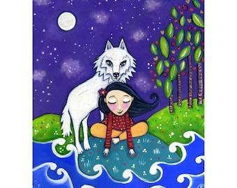 "White wolf  A3 art print girl whimsical folk fantasy childrens wall decor gift for wolf lover gift for friend - 'White Wolf"""