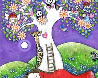 Nursery wall art folk painting womens wall art tree princess panda bear owl nursery decor whimsical kids room picture dream tree