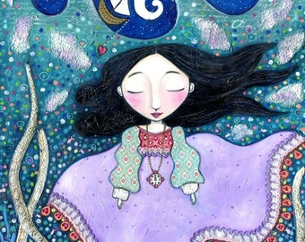 Ocean girl art print girls room folk art painting underwater scene nursery wall decor kids gift  whimsical purple dress