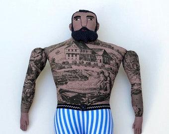 Big Circus Man with Tattoos Beard doll toile strongman