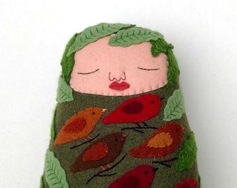 Swaddled Bird Baby Folk Art wool cashmere doll
