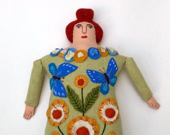 Lady Pillow doll Butterflies and Flowers wool cashmere reclaimed fabric