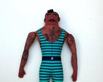 Dark Tattooed Man Doll in Green Old-Fashioned Bathing Suit Mustache