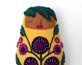 Swaddled Folk Art Bright and Beautiful Baby pillow doll wool cashmere