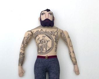 Tattooed Man Doll with Beard Toile