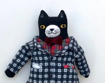 Black and White Tuxedo Cat Boy wool doll All Dressed up