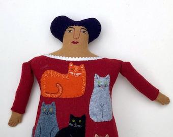 Cat Lady Lady Pillow doll wool cashmere reclaimed fabric folk art