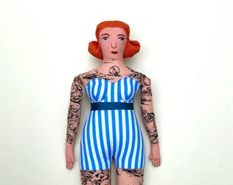 Tattooed Red-haired Lady doll curvy retro circus toile