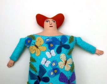 Butterfly Lady Pillow doll wool cashmere reclaimed fabric