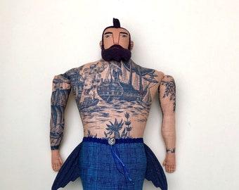 Big Merman Beard Tattoos Man doll