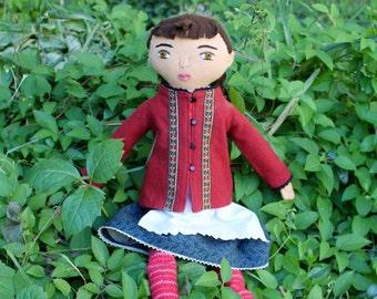 Folktale Girl doll dirndl dress wool softie