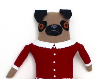 Pug Girl in Fire Hydrant skirt wool doll plush softie art