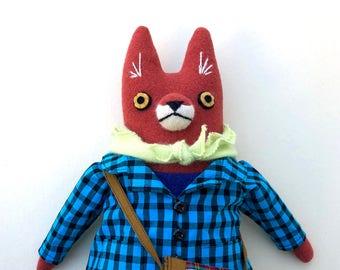 Girl Fox Doll with school bag wool bright plush softie