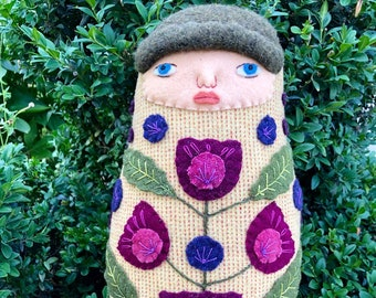 Swaddled Flower Folk Art Baby wool doll