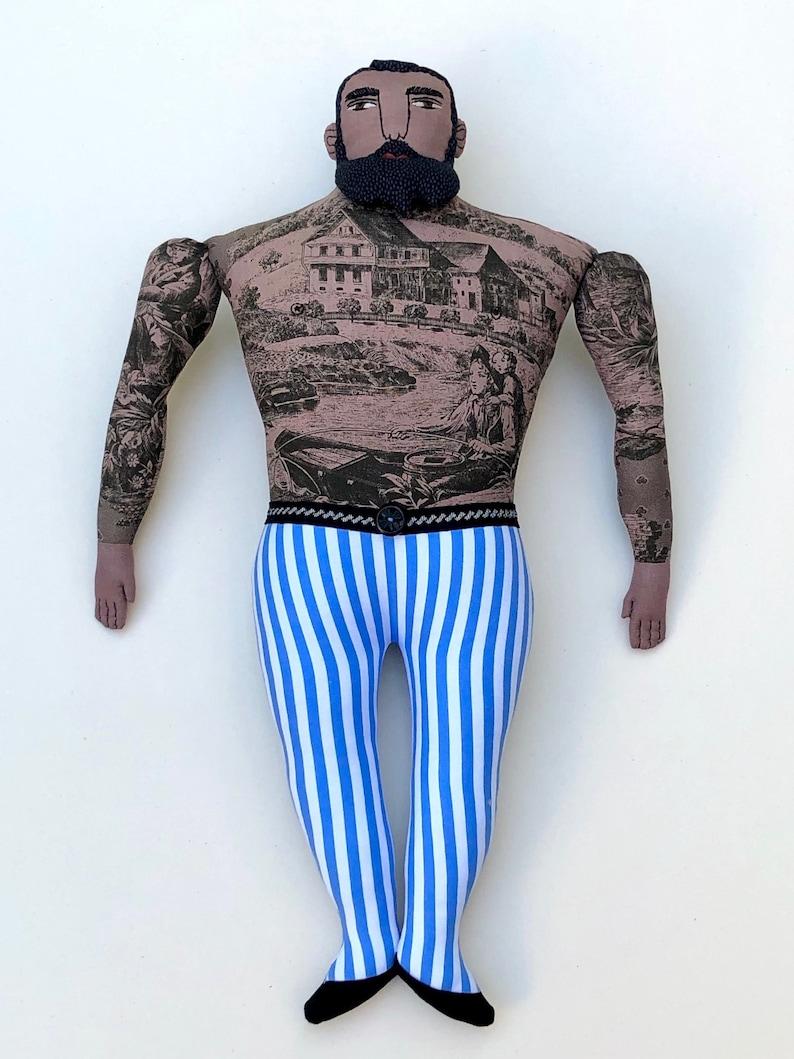 Big Circus Man with Tattoos Beard doll toile strongman image 0