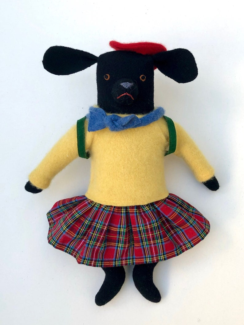 Girl Dog Black School Girl wool doll with clothes image 0