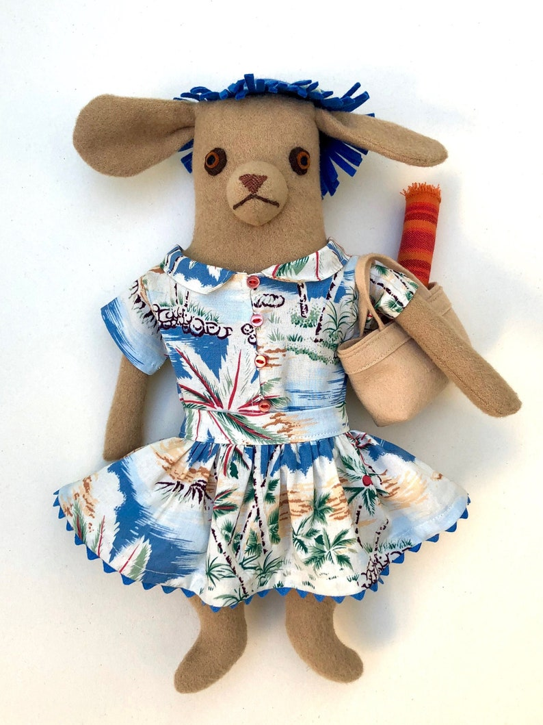 Tan Girl Dog Tropical Beach wool doll with clothes image 1
