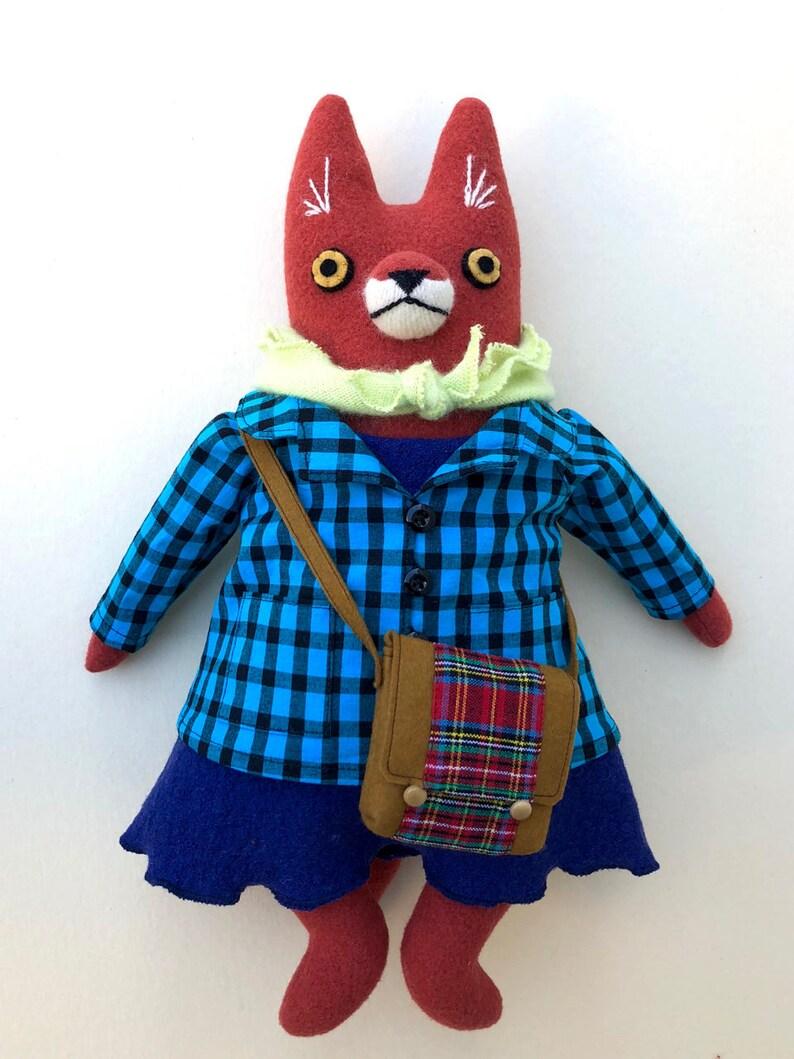 Girl Fox Doll with school bag wool bright plush softie image 0
