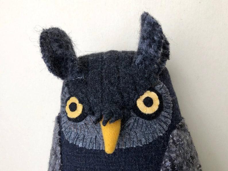 Dark Grey Owl wool pillow doll image 0