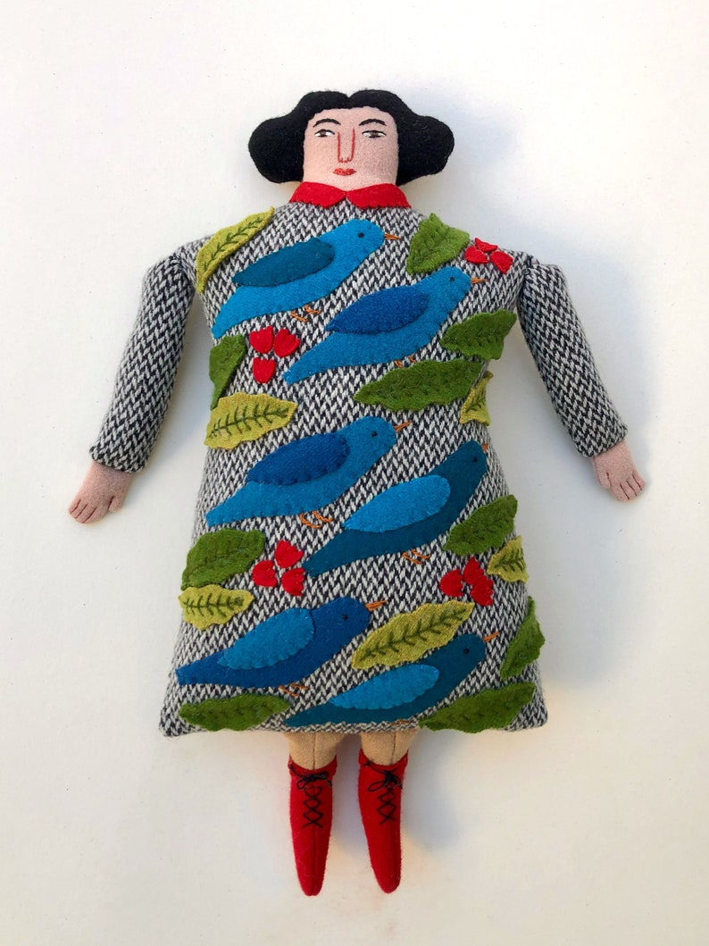 Lady Pillow doll Blue Birds and leaves wool cashmere reclaimed image 0