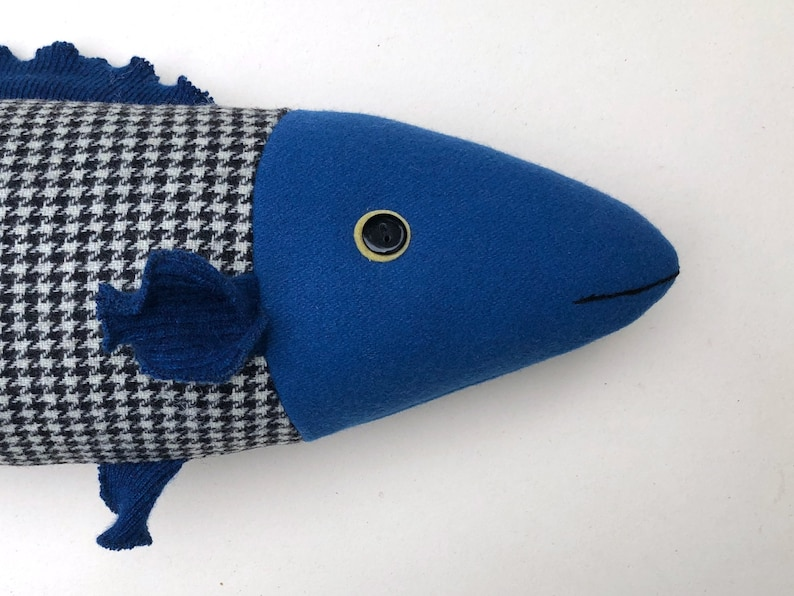Wool and Cashmere Fish Pillow Doll Black White Blue Upcycled image 1