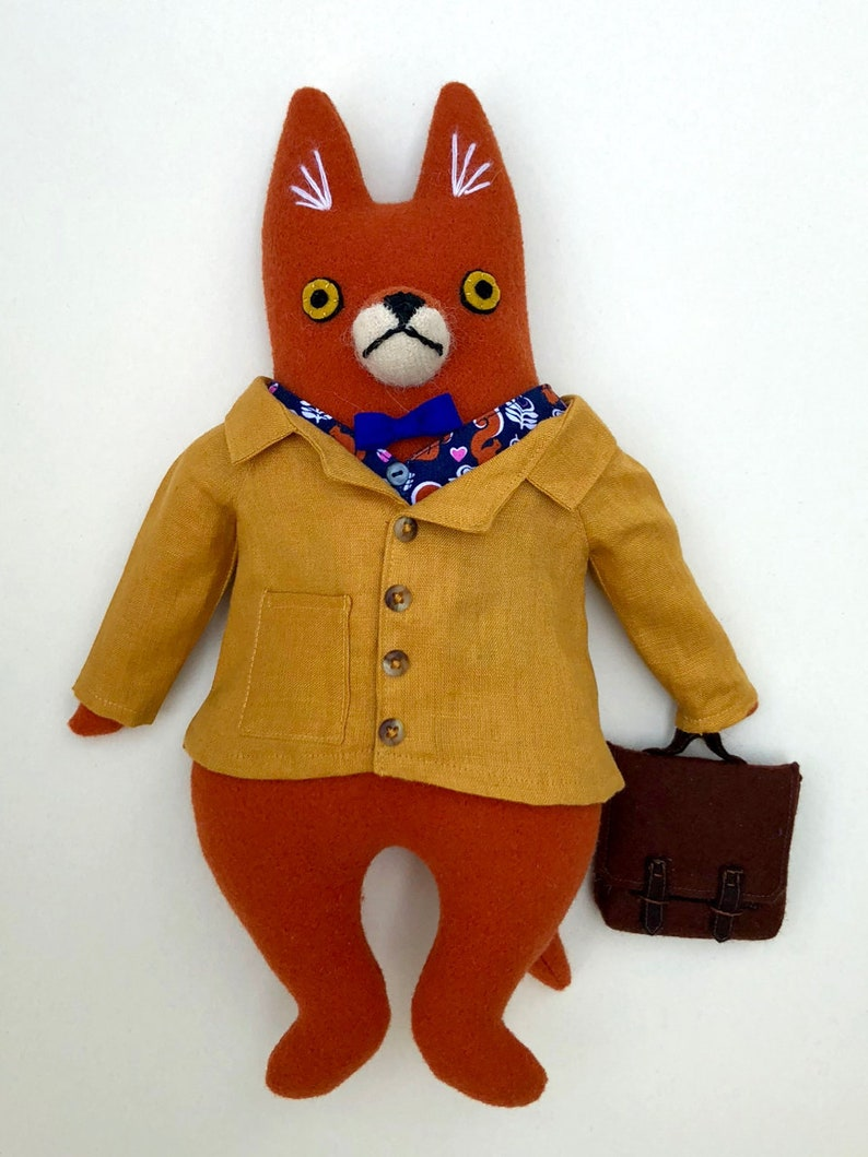 Fox Fellow in Linen Jacket wool doll plush hipster image 0