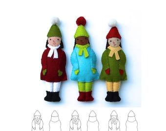 Winter Girl Ornament pdf Pattern Tutorial Felt toy embroidery hand stitch