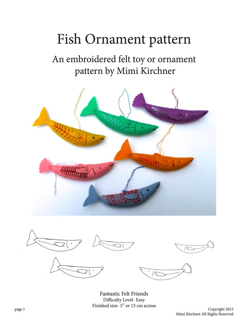 Fish Ornament pdf Pattern Tutorial Felt toy embroidery hand image 0
