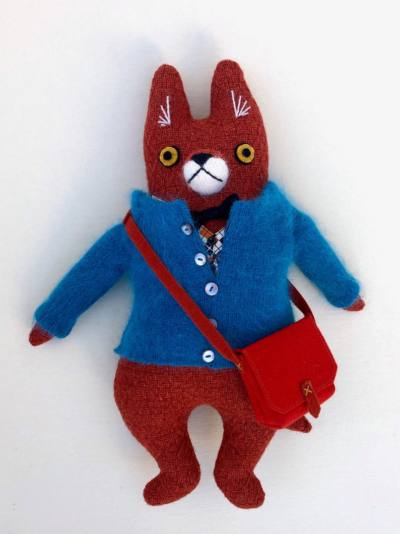Fox Fellow in Bright Fashion Sweater wool doll plush image 0