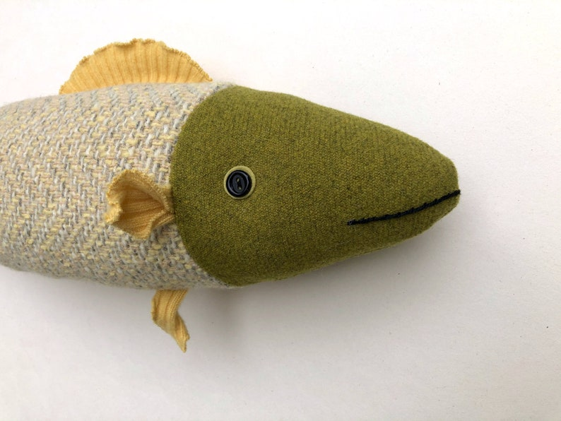 Light Green and Yellow wool fish pillow doll cabin ocean decor image 0