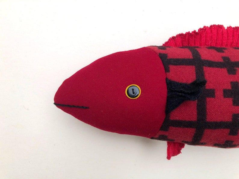 Wool Fish Red Plaid pillow doll cabin ocean decor image 0