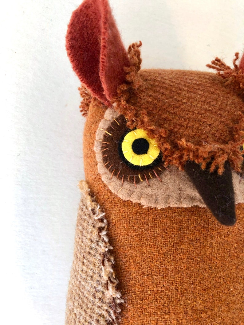 Russet Orange Horned Owl Wool doll textured pillow softie image 0