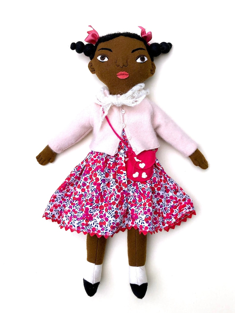 Little Girl with Pigtails doll wool Black girl doll image 0