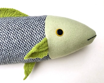 Wool and Cashmere Fish Pillow Doll Black White Green Upcycled Reclaimed Fabric