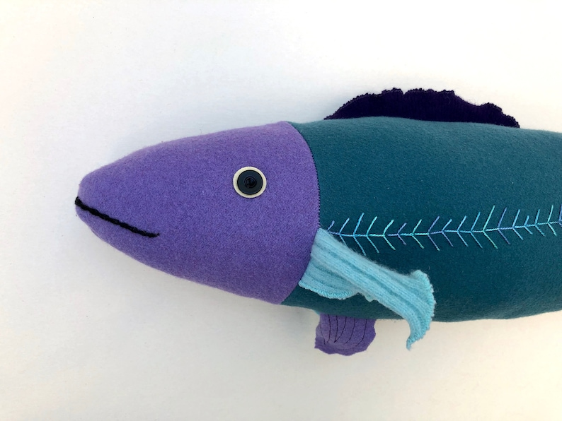 Fancy Fish Pillow Doll  Reclaimed Fabric Wool Cashmere Purple image 0