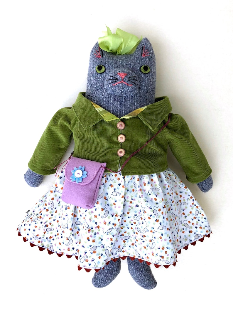 Grey Kitty Girl in Mouse Dress Grey wool doll plush image 0
