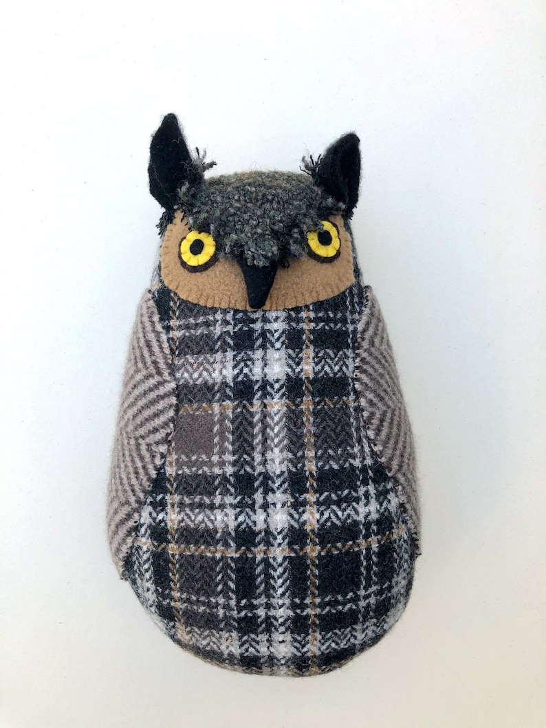 Plaid Owl Grey and Brown wool pillow doll image 0