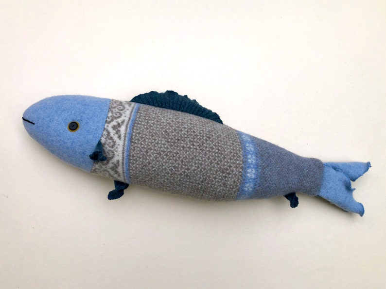 Blue and Gray wool sweater fish pillow doll Upcycled Reclaimed image 0