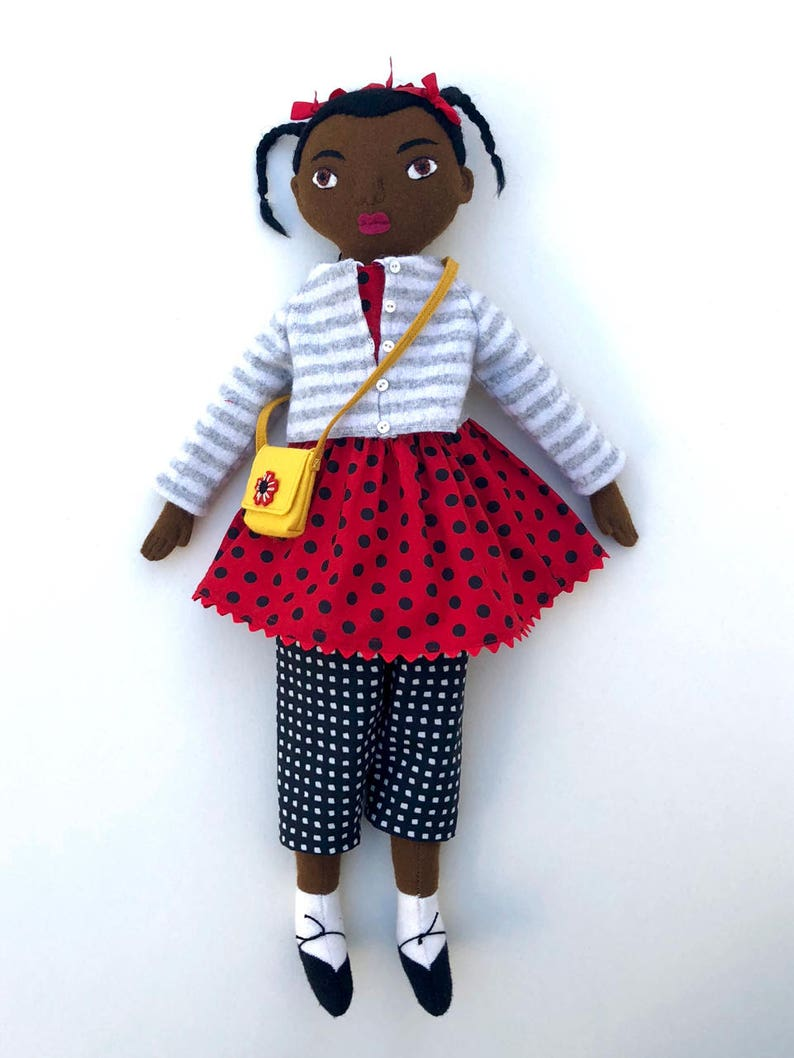 Girl doll Polka Dots and Stripes wool softie image 0