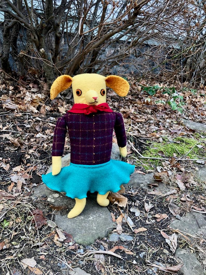 Yellow Girl Dog wool doll plush softie image 0