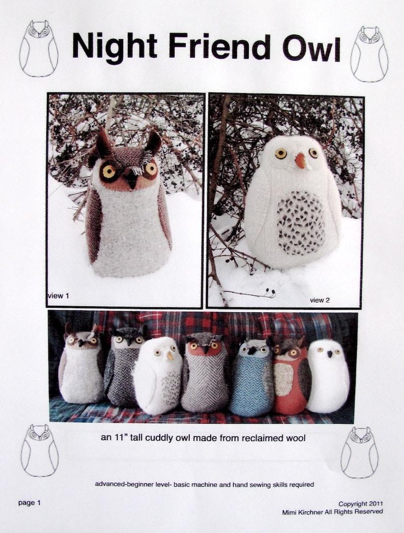 Owl pdf Pattern Tutorial Night Friend image 0