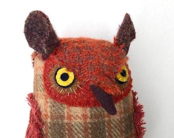 Fancy Russet Orange Horned Owl Wool doll textured pillow softie