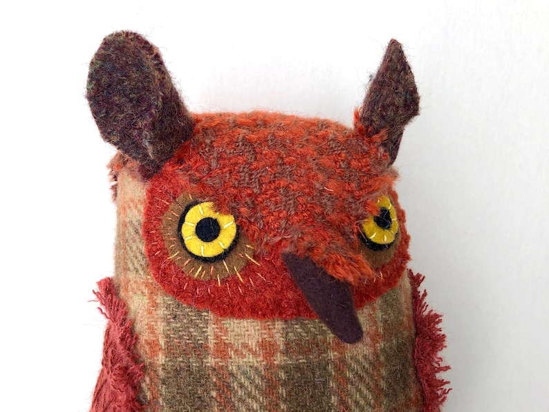 Fancy Russet Orange Horned Owl Wool doll textured pillow image 0