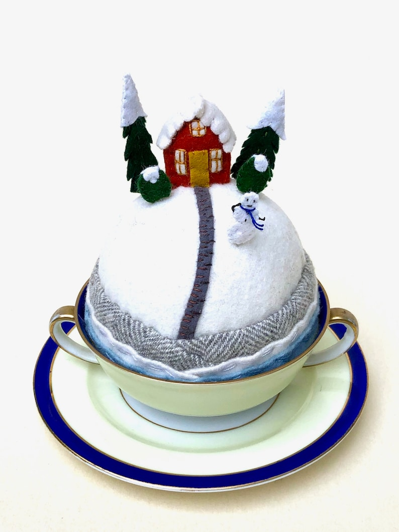 Large Snowy Tiny World Wool Pincushion House on a Hill image 0