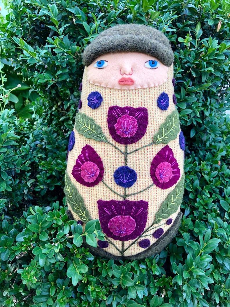 Swaddled Flower Folk Art Baby wool doll image 0