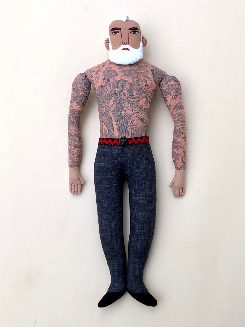 Man with Tattoos White Hair Beard doll toile Circus strongman image 0
