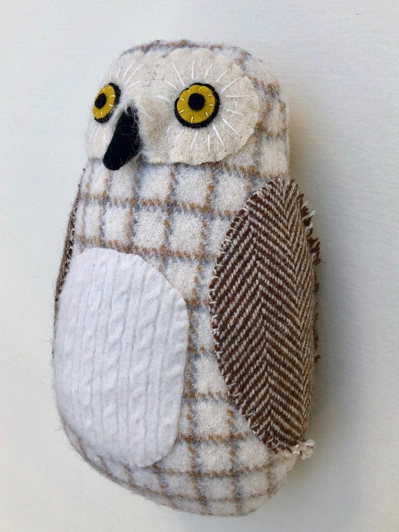 Snowy owl Brown and White reclaimed wool pillow doll plush image 0
